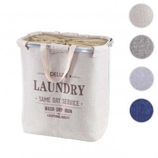 Wäschesammler HWC-C34, Laundry Wäschekorb Wäschebehälter mit Kordelzug, 2 Fächer Henkel 54x52x32cm 89l ~ beige