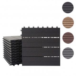 WPC Bodenfliese Rhone, Holzoptik Balkon/Terrasse, 11x je 30x30cm = 1qm ~ Basis, anthrazit linear
