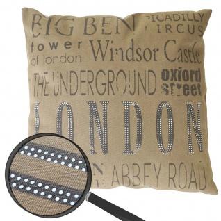 Deko-Kissen London, Sofakissen Zierkissen mit Füllung, braun Glitzersteine 45x45cm