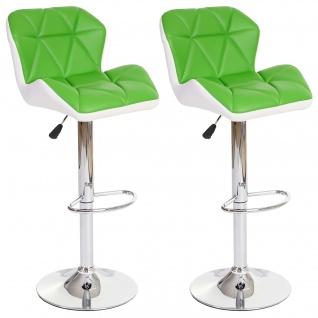 2x Barhocker HWC-A92, Barstuhl Tresenhocker, höhenverstellbar Kunstleder ~ grün - Vorschau 2
