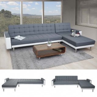 Ecksofa HWC-A97, Sofa Couch Gästebett, Schlaffunktion 298x190cm Textil+Kunstleder, grau/weiß