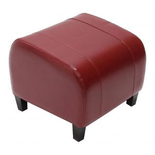 Hocker Sitzwürfel Sitzhocker Emmen, Leder + Kunstleder, 37x45x47 cm ~ rot