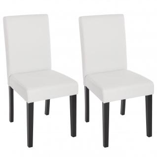 2x Esszimmerstuhl Stuhl Küchenstuhl Littau ~ Kunstleder, weiß matt, dunkle Beine