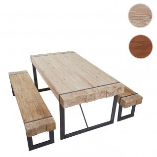 Esszimmergarnitur HWC-A15, Esstisch + 2x Sitzbank, Tanne Holz rustikal massiv ~ naturfarben 200cm