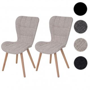 2x Esszimmerstuhl HWC-A87, Stuhl Küchenstuhl, Retro 50er Jahre Design ~ Textil, creme