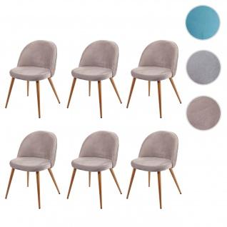 6x Esszimmerstuhl HWC-D53, Stuhl Küchenstuhl Retro 50er Jahre Design, Samt grau-braun