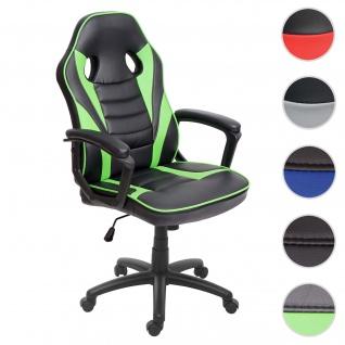 Bürostuhl HWC-F59, Schreibtischstuhl Drehstuhl Racing Chair Gaming-Chair, Kunstleder schwarz/grün