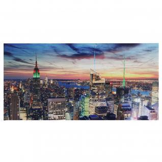 LED-Bild, Leinwandbild Leuchtbild Wandbild, Timer ~ 100x50cm New York, flackernd