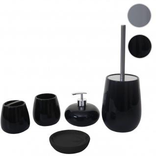 5-teiliges Badset HWC-C72, WC-Garnitur Badezimmerset Badaccessoires, Keramik schwarz