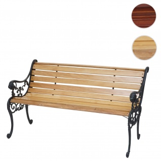 Gartenbank HWC-F98, Sitzbank Parkbank Holzbank, 2-Sitzer Gusseisen Holz 125cm 20kg ~ hellbraun