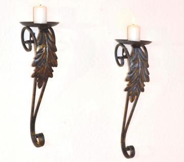 2er Set Wand-Kerzenhalter H127, Kerzenständer Wandleuchter, Metall, 39x12x13cm