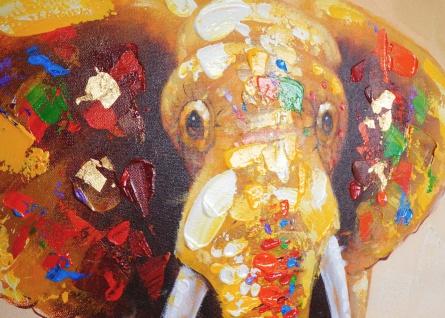 Ölgemälde Elefant, 100% handgemalt, 100x80cm - Vorschau 3