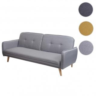 Schlafsofa HWC-J18, Couch Klappsofa Gästebett Bettsofa, Schlaffunktion Stoff/Textil ~ grau