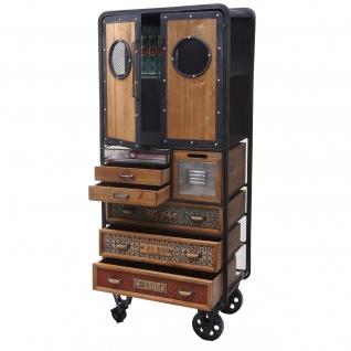 Apotheker-Schrank HWC-D78, Kommode Rollwagen Metallregal, Tanne Holz Vintage Shabby-Look 146x60x35cm