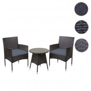 Poly-Rattan Balkonset HWC-G27, Sitzgarnitur Gartengarnitur, 2xSessel+Tisch ~ grau, Kissen grau
