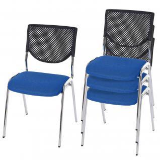 4x Besucherstuhl T401, Konferenzstuhl stapelbar, Textil Sitz blau, Füße chrom