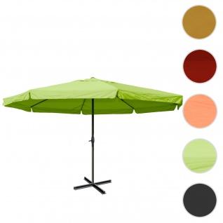 Sonnenschirm Meran Pro, Gastronomie Marktschirm mit Volant Ø 5m Polyester/Alu 28kg ~ grün ohne Ständer