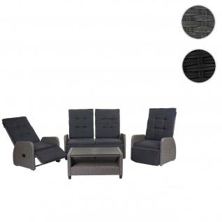 Garnitur HWC-J35, Lounge-Set Sitzgruppe Sofa, Spun Poly halbrundes Poly-Rattan ~ grau, Kissen anthrazit