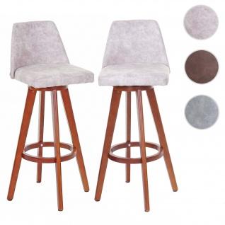 2x Barhocker HWC-C43, Barstuhl Tresenhocker, Holz Textil drehbar Vintage hellgrau, dunkle Beine