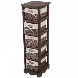 Regal Kommode mit 5 Korbschubladen, Shabby-Look, Vintage braun