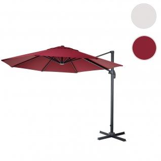 Gastronomie-Ampelschirm HWC-A96, Sonnenschirm, rund Ø 3, 5m Polyester Alu/Stahl 26kg ~ bordeaux ohne Ständer, drehbar
