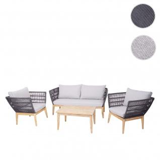 Gartengarnitur HWC-H55, Lounge-Set Sofa Sitzgruppe, Seilgeflecht Massivholz Akazie Spun Poly ~ Kissen hellgrau