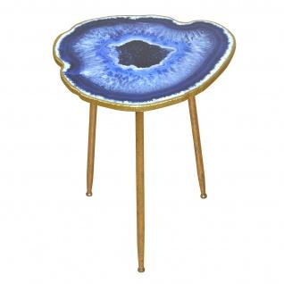 Beistelltisch H176, Telefontisch Shisha-Tisch Kaffeetisch, Metallgestell, Achatoptik, 61x50x45cm