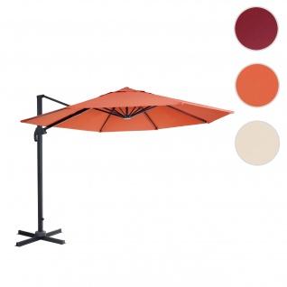 Gastronomie-Ampelschirm HWC-A96, Sonnenschirm, rund Ø 3m Polyester Alu/Stahl 23kg ~ terrakotta ohne Ständer