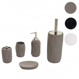 5-teiliges Badset HWC-H88, WC-Garnitur Badezimmerset Badaccessoires, Keramik ~ grau
