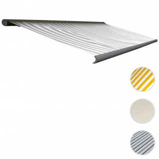 Elektrische Kassettenmarkise T122, Markise Vollkassette 4x3m ~ Acryl Grau/Weiß, Rahmen aluminiumgrau