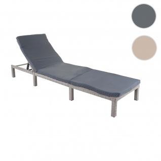 Poly-Rattan Sonnenliege HWC-A51, Relaxliege Gartenliege Liege ~ Basic grau, Kissen dunkelgrau