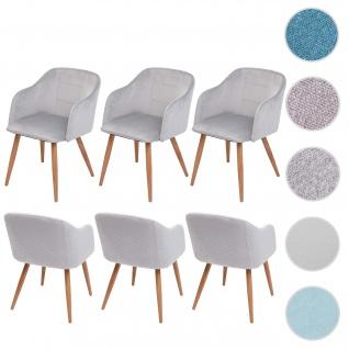 6x Esszimmerstuhl HWC-D71, Stuhl Küchenstuhl, Retro Design, Armlehnen Stoff/Textil ~ Samt hellgrau