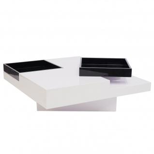B-Ware Couchtisch HWC-G85, Wohnzimmertisch Sofatisch, Tablett Ablagefach hochglanz 29x80x80cm ~ weiß, schwarz