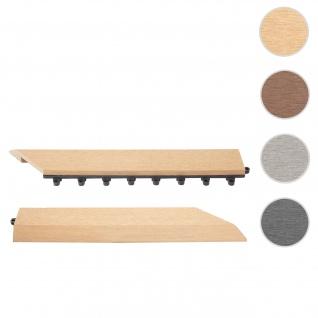 2x Abschlussleiste für WPC Bodenfliese Rhone, Abschlussprofil, Holzoptik Balkon/Terrasse ~ teak rechts mit Haken