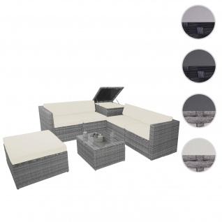 Poly-Rattan-Garnitur HWC-D21, Balkon-/Garten-/Lounge-Set Sofa Sitzgruppe, Box Staufach ~ grau, Kissen creme
