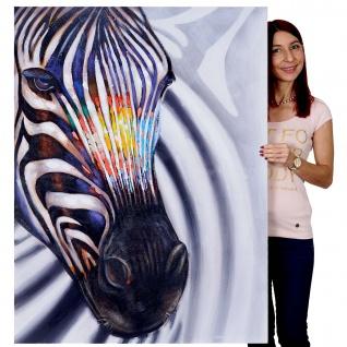Ölgemälde Zebrakopf, 100% handgemaltes Wandbild Gemälde XL, 120x90cm