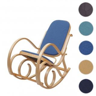 Schaukelstuhl M41, Schwingsessel Fernsehsessel, Massiv-Holz ~ Eiche-Optik, Stoff/Textil blau