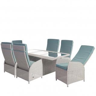 Luxus Poly-Rattan-Garnitur Badalona, Premium Lounge Set Alu-Sitzgruppe Tisch + 6 verstellbare Stühle ~ hellgrau