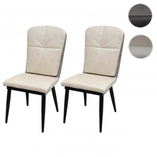 2x Esszimmerstuhl HWC-G42, Stuhl Küchenstuhl Lehnstuhl ~ Kunstleder, creme-grau