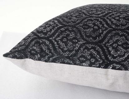 Deko-Kissen Barock, Sofakissen Zierkissen mit Füllung, schwarz Glanz-Effekt 45x45cm - Vorschau 4