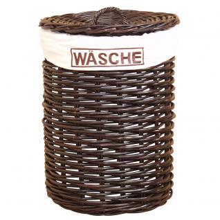 Wäschekorb H123, Wäschesammler, Kubu-Rattan handgeflochten, 66x48x48cm ~ dunkelbraun