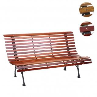 Gartenbank HWC-F97, Sitzbank Parkbank Holzbank, 3-Sitzer Gusseisen Holz 160cm 26kg ~ braun