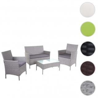 2-1-1 Poly-Rattan Garten-Garnitur Halden, Sitzgruppe Lounge-Set Sofa ~ grau, Kissen anthrazit