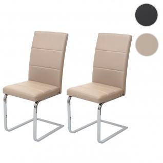 2x Esszimmerstuhl HWC-F27, Freischwinger Küchenstuhl, Kunstleder ~ creme, Gestell verchromt