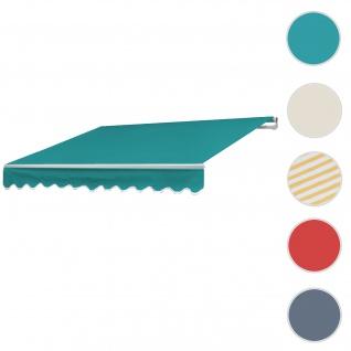 Alu-Markise T792, Gelenkarmmarkise Sonnenschutz 5x3m ~ Polyester Türkis