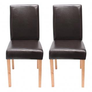 2x Esszimmerstuhl Stuhl Küchenstuhl Littau ~ Kunstleder, braun, helle Beine