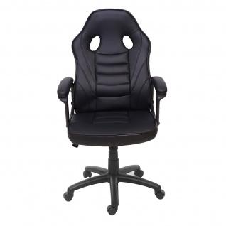 Bürostuhl HWC-F59, Schreibtischstuhl Drehstuhl Racing-Chair Gaming-Chair, Kunstleder ~ schwarz - Vorschau 3