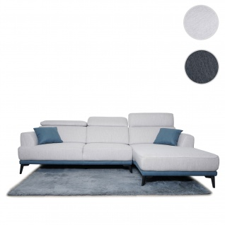 Sofa HWC-G44, Couch Ecksofa L-Form, Liegefläche Nosagfederung Taschenfederkern Teppich verstellbar ~ rechts, hellgrau
