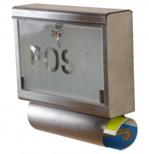Edelstahl-Briefkasten H44, Postkasten Mailbox Zeitungsfach, 42x40x12cm