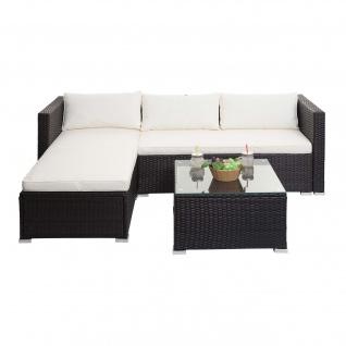 Poly-Rattan Garnitur HWC-F57, Balkon-/Garten-/Lounge-Set Sofa Sitzgruppe ~ braun, Kissen creme ohne Deko-Kissen - Vorschau 2